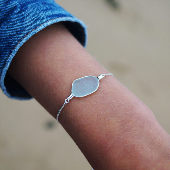 "Sea Glass adjustable bracelet ecosilver sterling silver cornwall Newquay handmade beachcombed surf jewellery aqua belcher chain 14"" 16"" 18"" 20"" 22"" sand waves ocean beach mermaid boho recycled bohemian womens girls plastic free handmade recycled aqua seafoam blue"