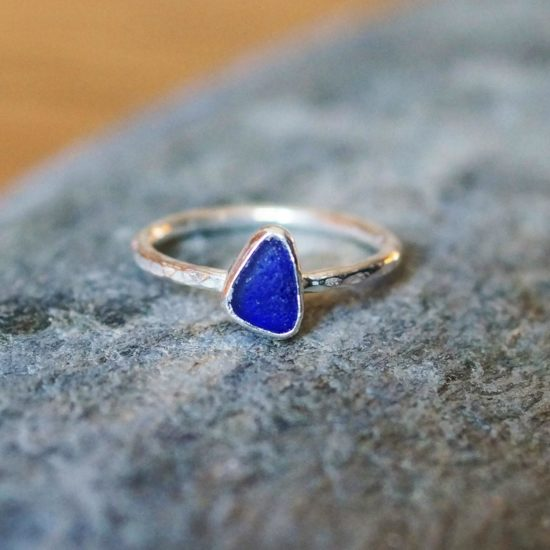 "Sea Glass vivid blue ring hammered sparkly sterling silver cornwall Newquay handmade beachcombed surf jewellery aqua belcher chain 14"" 16"" 18"" 20"" 22"" sand waves ocean beach mermaid boho recycled bohemian womens girls plastic free handmade recycled cornflower blue"