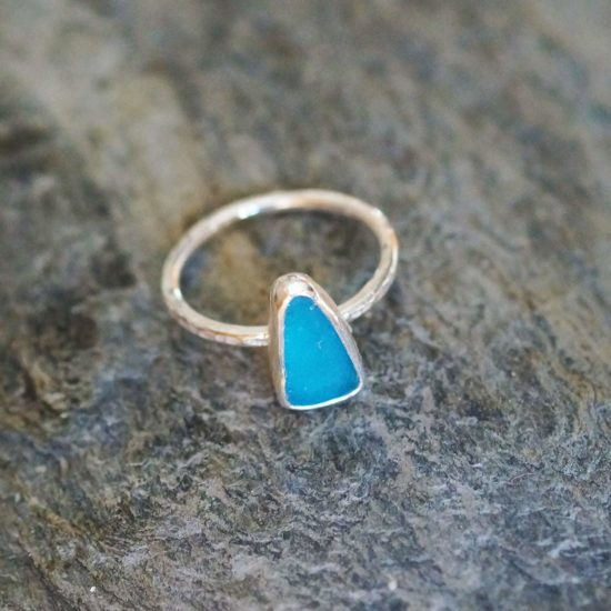 "Sea Glass bright turquoise blue ring hammered sparkly sterling silver cornwall Newquay handmade beachcombed surf jewellery aqua belcher chain 14"" 16"" 18"" 20"" 22"" sand waves ocean beach mermaid boho recycled bohemian womens girls plastic free handmade recycled cornflower blue"