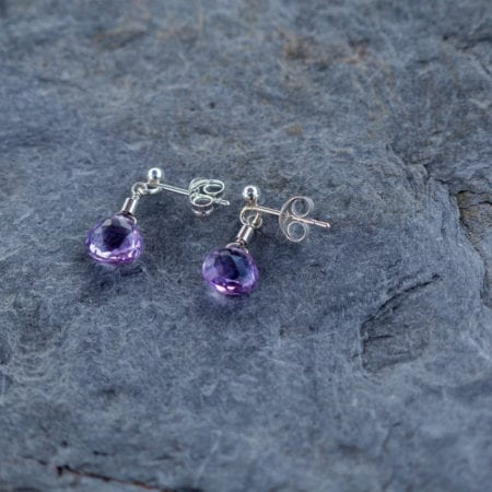 Amethyst water droplet gemstone sterling silver studs faceted sparkly glitter purple february birthstone birthday surf jewellery sea sand beach cornwall newquay bohemian
