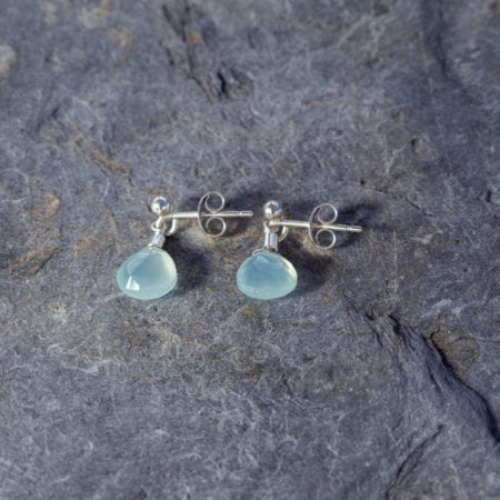 Aqua chalcedony water droplet gemstone stud earrings sterling silver faceted briolette sparkly surf jewellery sea glass sand beach waves ocean boho bohemian cornwall newquay mermaid