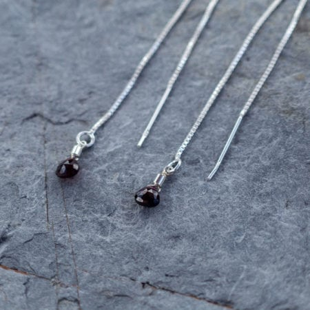 Garnet water droplet pull through thread adjustable earrings sterling silver surf jewellery cornwall newquay ocean waves beach january birthstone birthday red faceted briolette sparkly glitter womens girls