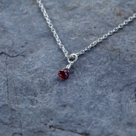 "Garnet water droplet pendant sterling silver belcher chain 14"" choker 16"" 18"" surf jewellery cornwall newquay ocean waves beach january birthstone birthday red faceted briolette sparkly glitter womens girls"