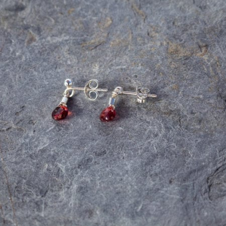 Garnet water droplet stud earrings sterling silver surf jewellery cornwall newquay ocean waves beach january birthstone birthday red faceted briolette sparkly glitter womens girls