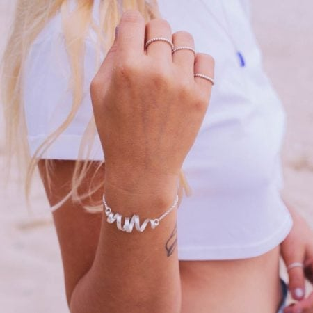 melodie wearing sterling silver vortex bracelet adjustable womens girls