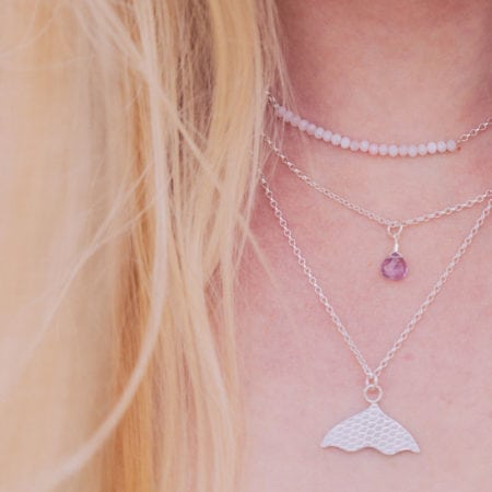 Pink opal bar choker necklace amethyst water droplet pendant morverens tail mermaid fishtail February womens girls