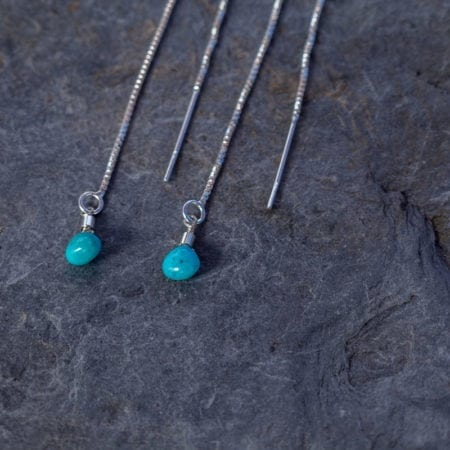 Turquoise water droplet thread earrings sterling silver blue gemstone adjustable comfortable sparkling sea surf beach ocean delicate minimal girls womens fashion gifts present ideas matching