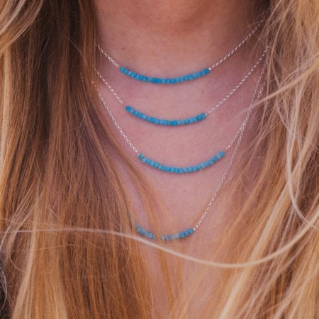 "Turquoise bar sterling silver necklace gemstone lengths choker 14"" 16"" 18"" 20"" sea surf cornwall beach ocean layered womens girls gifts"