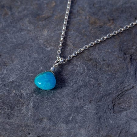 "Turquoise water droplet pendant sterling silver handmade cornwall newquay smooth gemstone briolette sea surf surfgirl jewellery minimal elegant waves womens girls gifts 14"" 16"" 18"" 20"" choker"