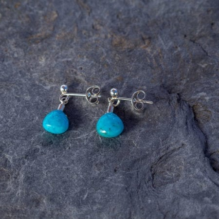 Turquoise water droplet stud earrings smooth gemstone briolette blue sea surf beach ocean delicate minimal comfortable girls womens fashion gifts present matching set