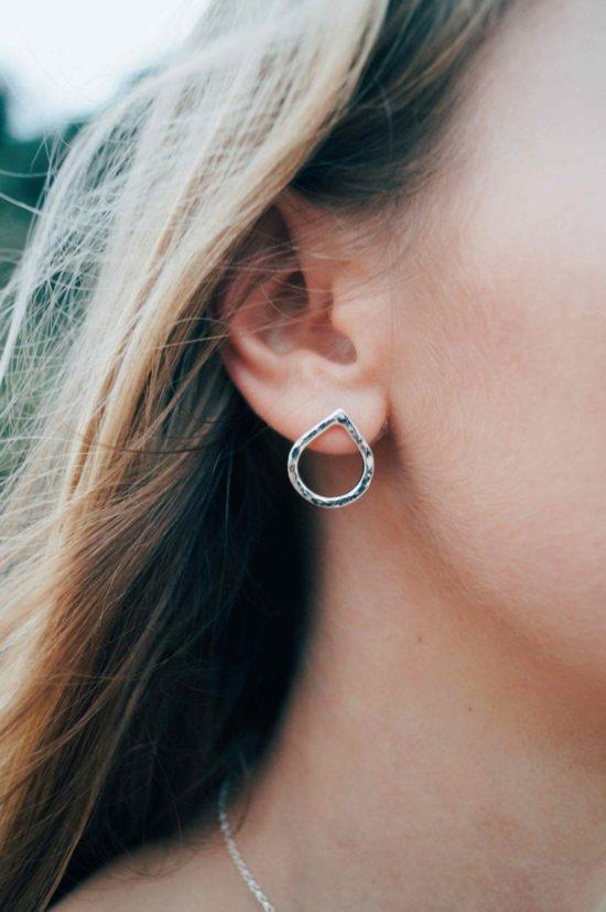teardrop silver stud earrings matching sea glass sterling silver pendants cornwall newquay velevet belcher chain surf jewellery sand ocean beach waves bohemian boho womens girls