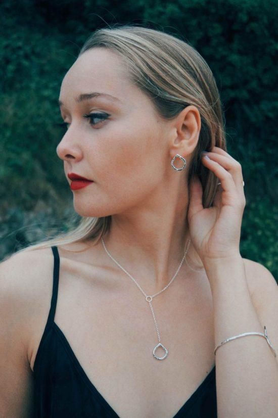 teardrop splash lariat stud earrings sea glass sterling silver pendants cornwall newquay velevet belcher chain surf jewellery sand ocean beach waves bohemian boho womens girls