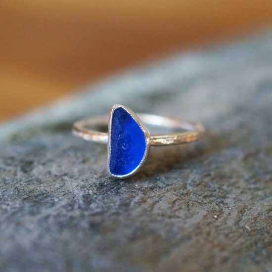 "Sea Glass cobalt deep blue ring hammered sparkly sterling silver cornwall Newquay handmade beachcombed surf jewellery aqua belcher chain 14"" 16"" 18"" 20"" 22"" sand waves ocean beach mermaid boho recycled bohemian womens girls plastic free handmade recycled cornflower blue"