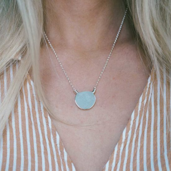"Sea Glass choker pendants sterling silver cornwall Newquay handmade beachcombed surf jewellery aqua belcher chain 14"" 16"" 18"" 20"" 22"" sand waves ocean beach mermaid boho recycled bohemian womens girls plastic free handmade recycled aqua seafoam blue patterned texture"