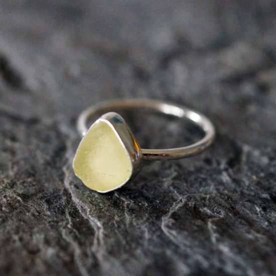 Aqua yellow green Sea Glass ring sterling silver cornwall Newquay beachcombed surf jewellery sand waves ocean beach mermaid boho recycled bohemian womens girls plastic free handmade recycled