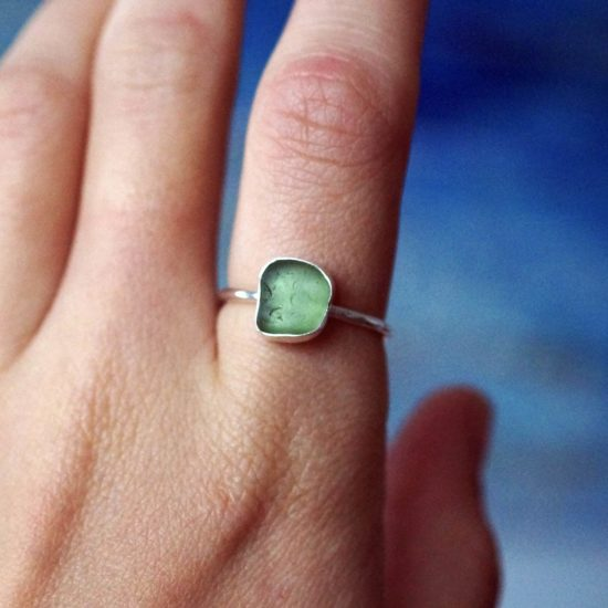 Green Sea Glass ring sterling silver cornwall Newquay beachcombed surf jewellery sand waves ocean beach mermaid boho recycled bohemian womens girls plastic free handmade recycled