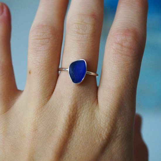 Cobalt royal blue Sea Glass ring sterling silver cornwall Newquay beachcombed surf jewellery sand waves ocean beach mermaid boho recycled bohemian womens girls plastic free handmade recycled