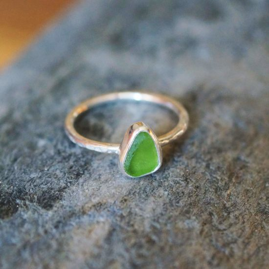 "Sea Glass lime green ring hammered sparkly sterling silver cornwall Newquay handmade beachcombed surf jewellery aqua belcher chain 14"" 16"" 18"" 20"" 22"" sand waves ocean beach mermaid boho recycled bohemian womens girls plastic free handmade recycled cornflower blue"