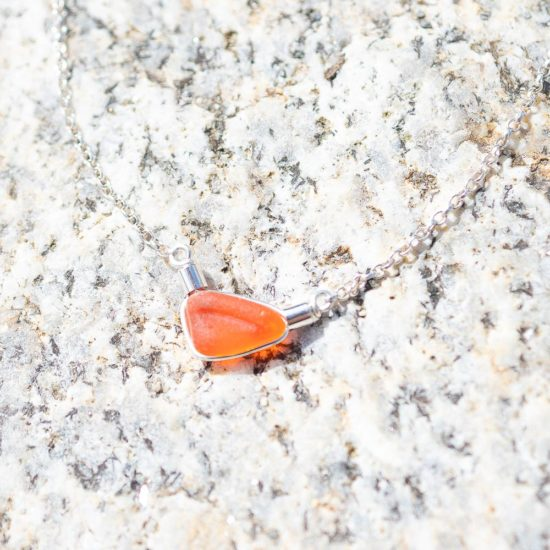 "Sea Glass pendants sterling silver cornwall Newquay handmade beachcombed surf jewellery aqua belcher chain 14"" 16"" 18"" 20"" 22"" sand waves ocean beach mermaid boho recycled bohemian womens girls plastic free handmade recycled orange"