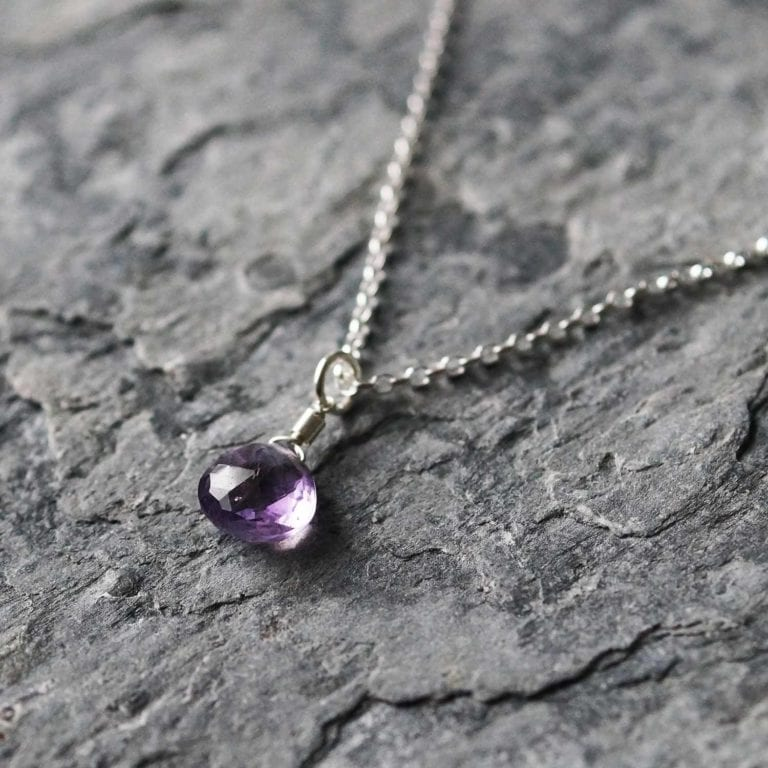 "amethyst purple pendant sterling silver cornwall Newquay handmade beachcombed surf jewellery aqua belcher chain 14"" 16"" 18"" 20"" 22"" sand waves ocean beach mermaid boho recycled bohemian womens girls plastic free handmade lariat"