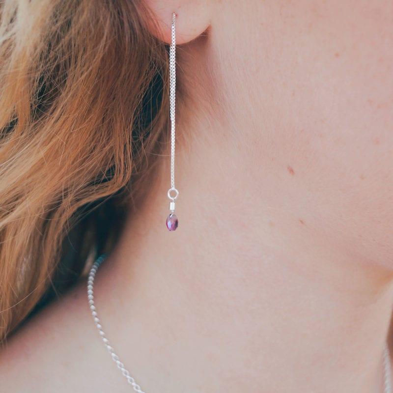 amethyst threads purple pink gemstone stud earrings lariat pendant cornwall cornish newquay water droplets mermaid surf surfgirl boho ocean handmade sterling silver padstow polzeath falmouth st ives rock wanderlust