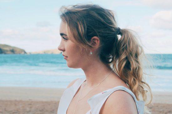 aqua chlacedony blue green gemstone stud earrings lariat pendant cornwall cornish newquay water droplets mermaid surf surfgirl boho ocean handmade sterling silver padstow polzeath falmouth st ives rock wanderlust