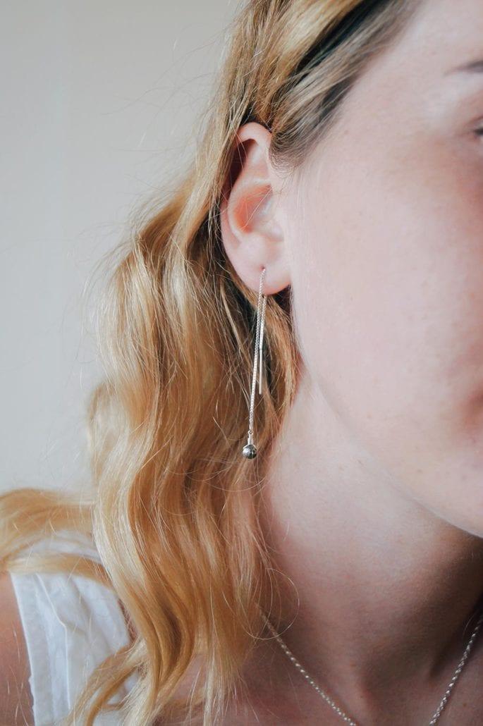 pyrite threads gold bronze gemstone stud earrings lariat pendant cornwall cornish newquay water droplets mermaid surf surfgirl boho ocean handmade sterling silver padstow polzeath falmouth st ives rock wanderlust