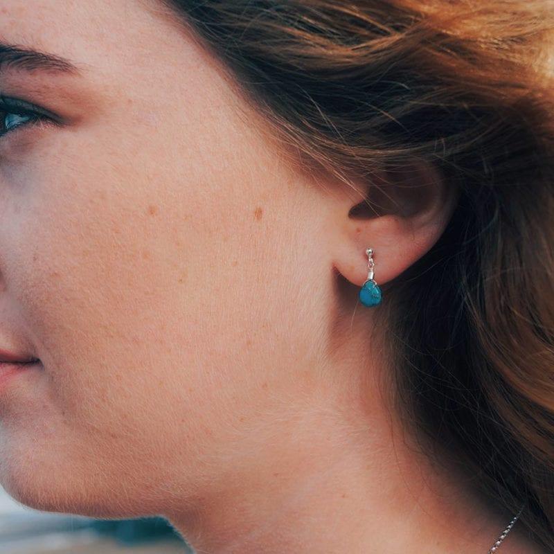 turquoise blue green gemstone stud earrings cornwall cornish newquay water droplets mermaid surf surfgirl boho ocean handmade sterling silver padstow polzeath falmouth st ives rock wanderlust