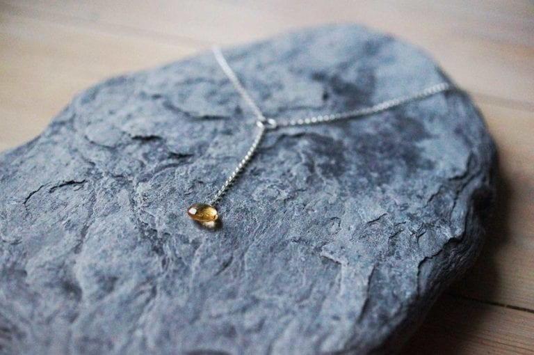 yellow citrine lariat threads gemstone sunshine yellow stud earrings cornwall cornish newquay water droplets mermaid surf surfgirl boho ocean handmade sterling silver padstow polzeath falmouth st ives rock wanderlust