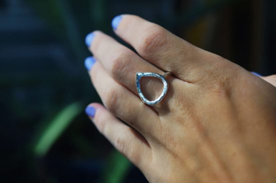 girl sterling silver teardrop splash hammered sparkly glitter reflective mirror ring sea surf beach jewellery surfgirl cornish cornwall newquay