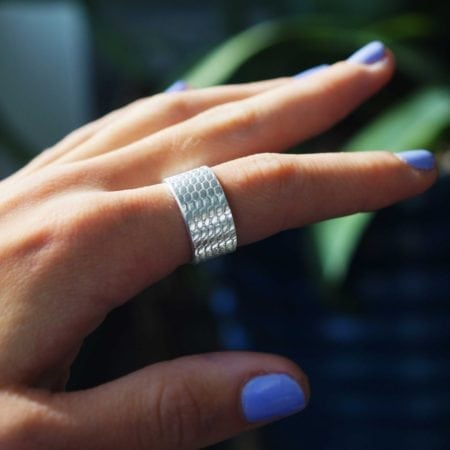 mermaid scale sterling silver handmade handcrafted ring 5mm beach sea surf girl gifts sparkly glitter ring jewellery 10mm thick heavy band