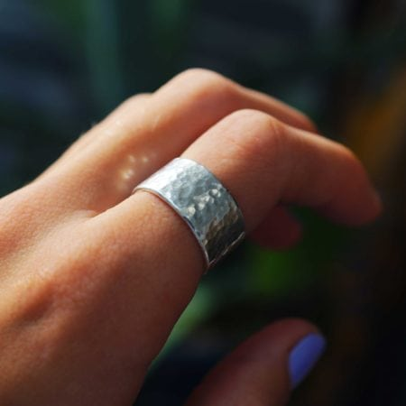 sea glass jewellery girl sterling silver hammered sparkly glitter reflective mirror ring sea surf beach jewellery surfgirl cornish cornwall newquay 10mm thick band