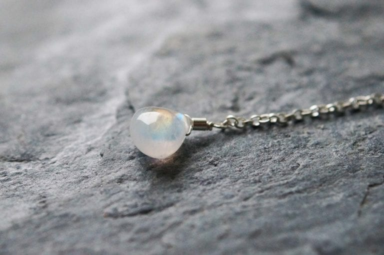 rainbow spectrolite moonstone aqua blue green gemstone stud earrings lariat pendant cornwall cornish newquay water droplets mermaid surf surfgirl boho ocean handmade sterling silver padstow polzeath falmouth st ives rock wanderlust