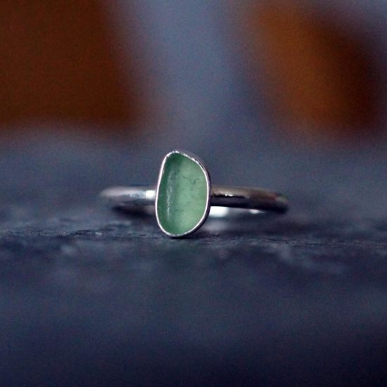 "Sea Glass ring sterling silver cornwall Newquay handmade beachcombed surf jewellery aqua belcher chain 14"" 16"" 18"" 20"" 22"" sand waves ocean beach mermaid boho recycled bohemian womens girls plastic free handmade recycled"