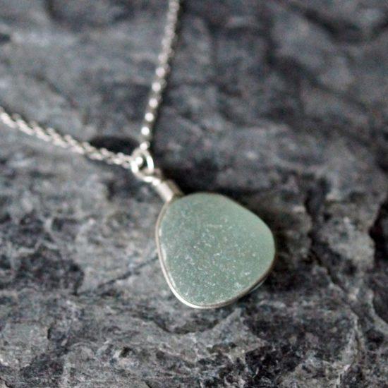 "Sea Glass pendants sterling silver cornwall Newquay handmade beachcombed surf jewellery aqua belcher chain 14"" 16"" 18"" 20"" 22"" sand waves ocean beach mermaid boho recycled bohemian womens girls plastic free handmade recycled"