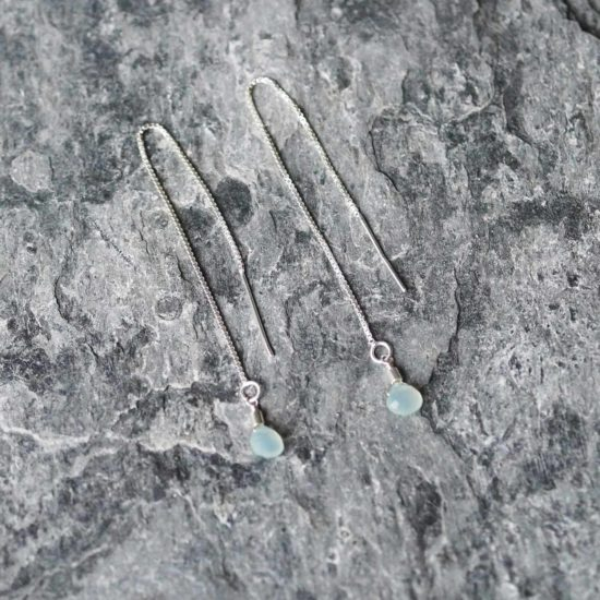 aqua chacledony Sea Glass sterling silver handmade beachcombed surf jewellery aqua ocean beach boho recycled bohemian womens girls cornwall Newquay plastic free handmade recycled Cornish pull through thread earrings