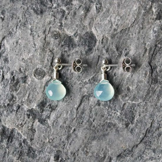 aqua chalcedony Sea Glass sterling silver stud earrings handmade beachcombed surf jewellery aqua ocean beach boho recycled bohemian womens girls cornwall Newquay plastic free handmade recycled Cornish
