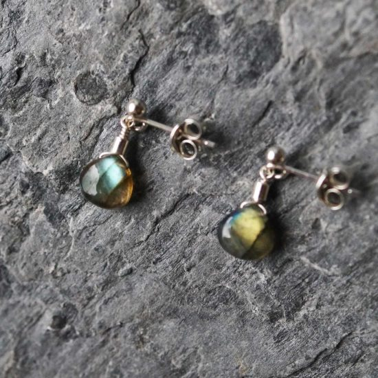 "labradorite rainbow sterling silver stud earrings cornwall Newquay handmade beachcombed surf jewellery aqua belcher chain 14"" 16"" 18"" 20"" 22"" sand waves ocean beach mermaid boho recycled bohemian womens girls plastic free handmade lariat"