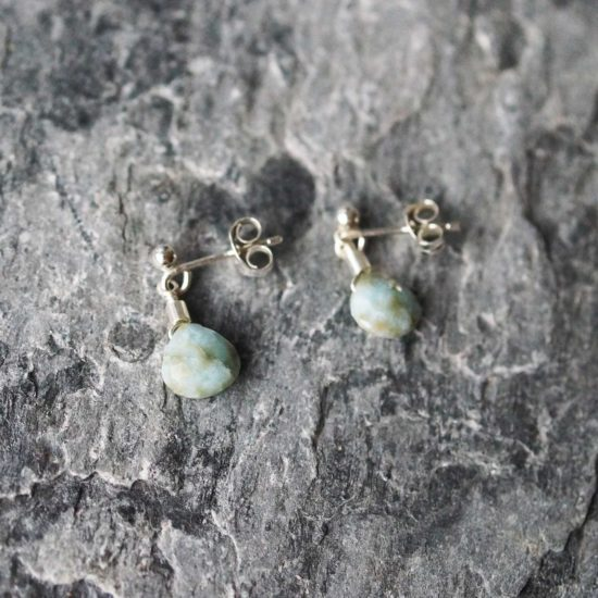 larimar aqua blue Sea Glass sterling silver stud earrings handmade beachcombed surf jewellery aqua ocean beach boho recycled bohemian womens girls cornwall Newquay plastic free handmade recycled Cornish