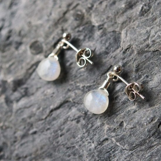 rainbow moonstone Sea Glass sterling silver stud earrings handmade beachcombed surf jewellery aqua ocean beach boho recycled bohemian womens girls cornwall Newquay plastic free handmade recycled Cornish
