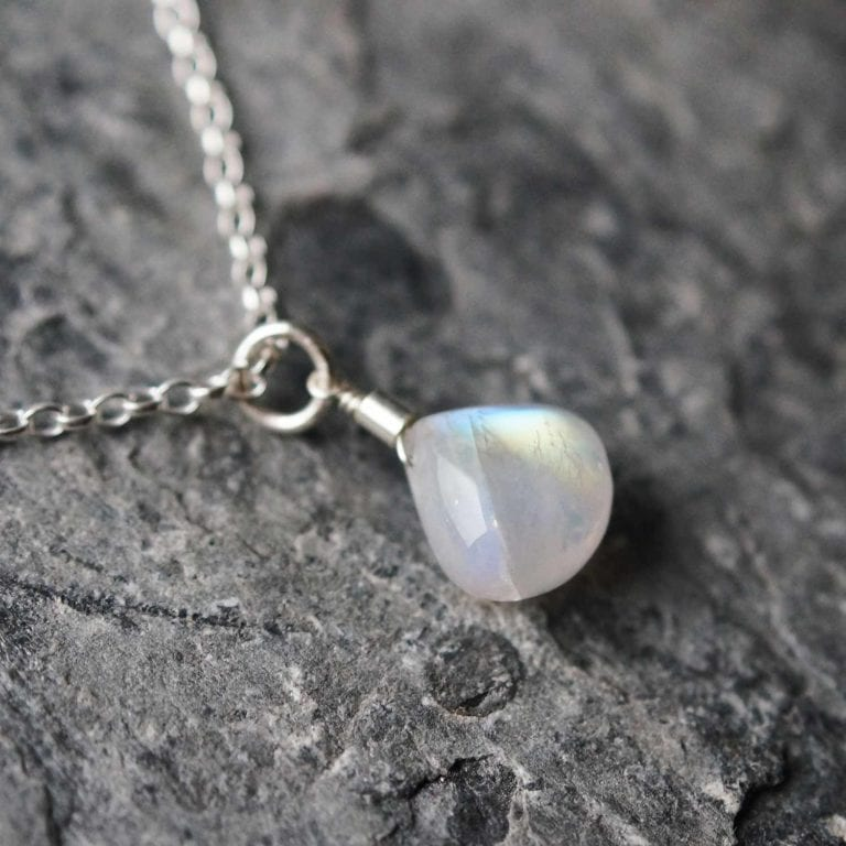 "moonstone rainbow pendant sterling silver cornwall Newquay handmade beachcombed surf jewellery aqua belcher chain 14"" 16"" 18"" 20"" 22"" sand waves ocean beach mermaid boho recycled bohemian womens girls plastic free handmade lariat"