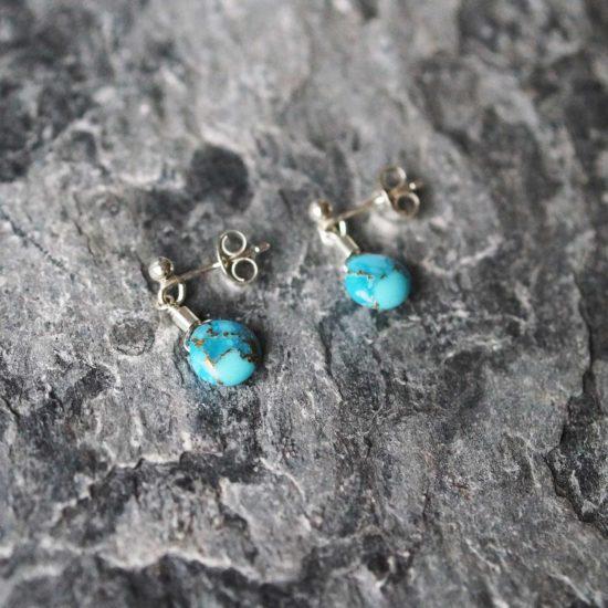 turquoise Sea Glass sterling silver stud earrings handmade beachcombed surf jewellery aqua ocean beach boho recycled bohemian womens girls cornwall Newquay plastic free handmade recycled Cornish