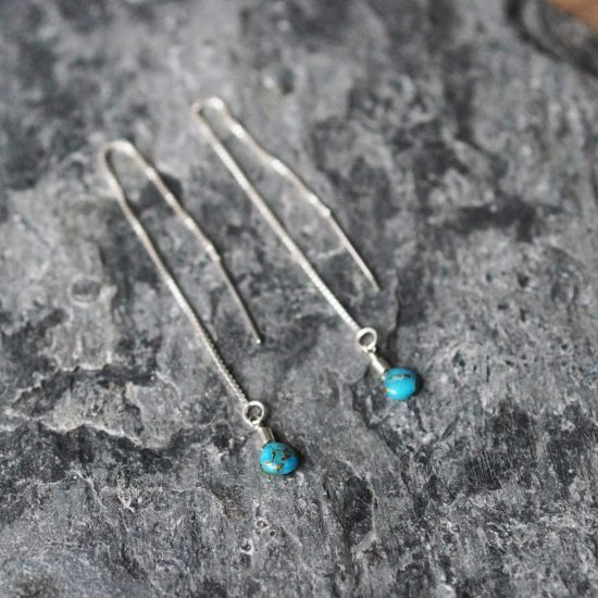 turquoise Sea Glass sterling silver handmade beachcombed surf jewellery aqua ocean beach boho recycled bohemian womens girls cornwall Newquay plastic free handmade recycled Cornish pull through thread earrings