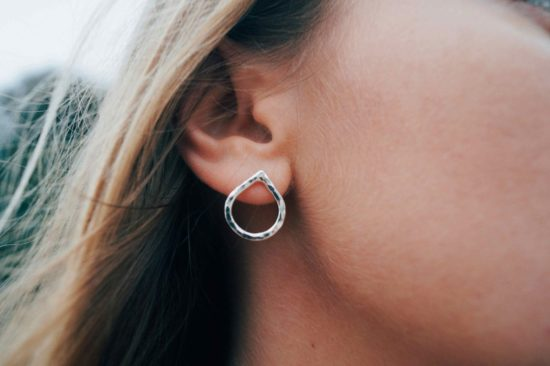 splash handmade hammered sparkly silver tear drop stud earrings sea glass sterling silver pendants cornwall newquay velevet belcher chain surf jewellery sand ocean beach waves bohemian boho womens girls